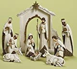10-Piece Ivory and Gold Religious Christmas Nativity Figurine Set