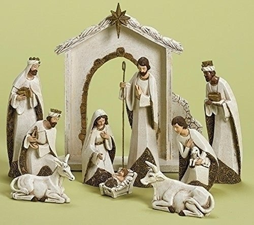 Roman 10-Piece Ivory and Gold Religious Christmas Nativity Figurine Set