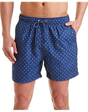 Mens Pattern Mesh Inset Swim Trunks Navy XL
