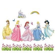 Fange DIY Removable Disney Princesses and Castles Art Mural Vinyl Waterproof Wall Stickers Kids Room Decor Nursery Decal Sticker Wallpaper 35.4''x23.6''