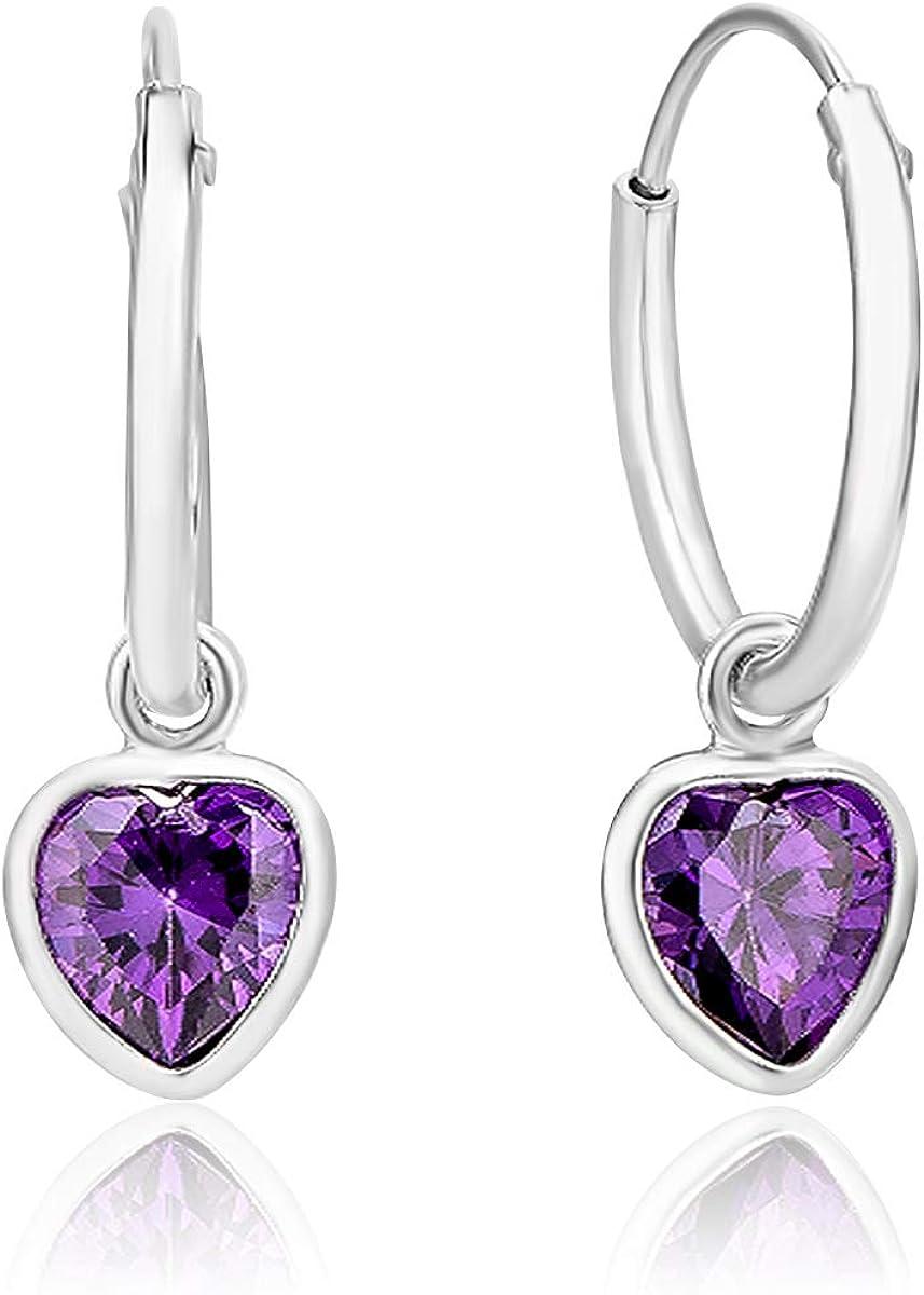 DTP Silver - Pendientes de Aro de mujer 14 mm - Plata 925 con Cristal Swarovski en forma de Corazón - Disponible en diferentes colores
