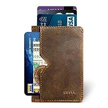 Slim Front Pocket Leather Wallet for Men Card Holder Up to 8 Cards & Cash HUSKK (Dark Brown[CSC6-DBCH-RFID])