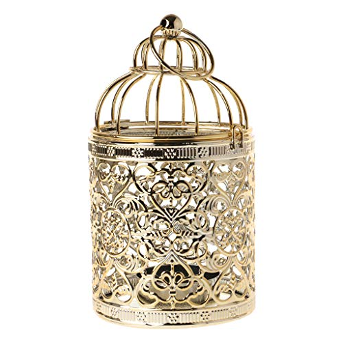 (puhoon Candlestick Holder, Hollow Bird Cage Shape Tealight Hanging Lantern Candlestick 3 Colors,2 Style, Vintage Candle Holder for Christmas Thanksgiving Room,Wedding,Festival Party (Gold, B))