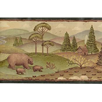 Wallpaper Border Bears And Moose Pine Trees Log Cabins In Mountains