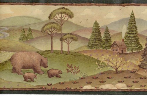 Wallpaper Border Bears and Moose Pine Trees Log Cabins in Mountains Green Trim