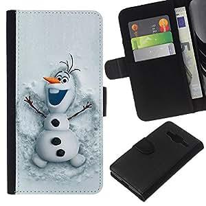 KingStore / Leather Etui en cuir / Samsung Galaxy Core Prime / Muñeco de nieve divertido de invierno Cartoon Kids;