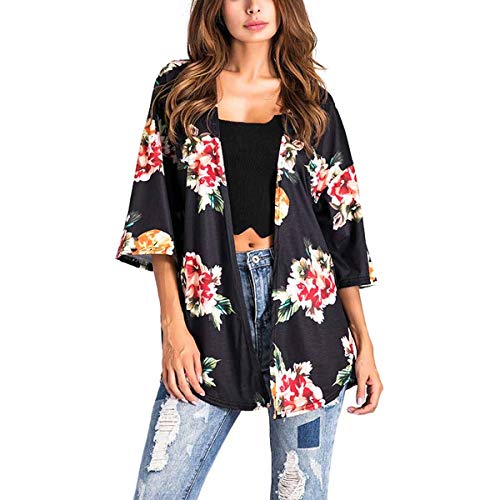ZFFde Invierno Side Split Irregular Floral Kimono Cardigan Coat Mujeres 3/4 Sleeve Loose Outwear (Color : Black, tamaño : L)