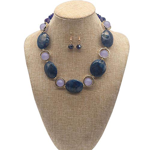 JHWZAIY Acrylic Crystal Necklace for Women Beads Statement Chunky Necklace and Earring Set (Blue)