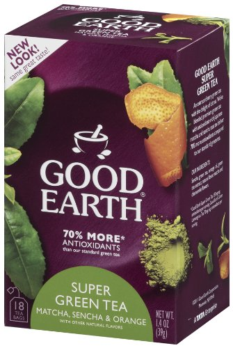 Good Earth Super Green Tea, Matcha, Sencha and Orange, 18-Count Tea Bags (Pack of 6)
