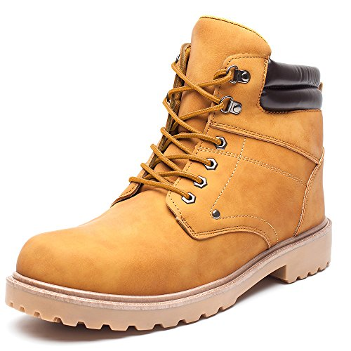DRKA Men's Water Resistant Work Boots Comfortable Leather Plain Rubber Sole Industrial Construction Shoes for Male(17927-Wheat-46) by DRKA (Image #8)