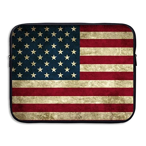 Price comparison product image D-MUSE American Flag Pattern Portable Waterproof Neoprene Laptop Sleeve Bag Cover For MacBook Pro, MacBook Air, Notebook