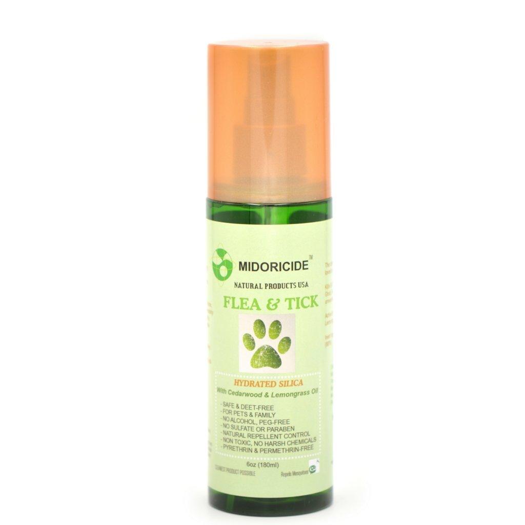 Midoricide Natural Flea and Tick Control Spray for Pets - Hydrated silica, Cedarwood Oil + Lemongrass- 6 oz