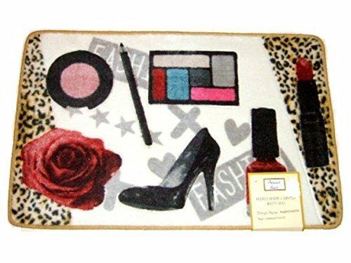 Fashionista Leopard Cheetah Hand Made Carved Bath Mat Rug - Lipstick Makeup - Cheetah Bath