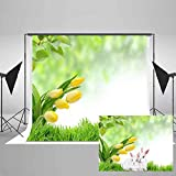 EARVO Spring Backdrop 7x5ft Yellow Tulips Green Grass Photography Background Spring Outing Baby Shower Cotton Backdrop (Wrinkle Resistance) Photo Studio Props EA011