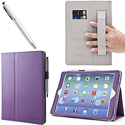 iPad Air Case, i-BLASON Apple iPad Air Case Auto Wake/ Sleep Smart Case Leather Case (Elastic Hand Strap, Multi-Angle, Card Holder) With Bonus Stylus (Multi-Color to Choose From) 3 Year Warranty