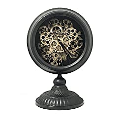 Shaba Designs Vintage Pocket Watch Style Table Clock Retro Distressed Iron Artesian Pedestal Real Moving Gears (Black)