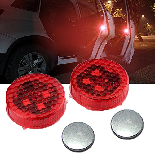 Samlight Waterproof Wireless Car Door Warning Light with Red Strobe Flashing Led Door Open Safety Reflector for Universal Vehicle Anti rear-end Collision 2 pack - Flashing Safety Reflector