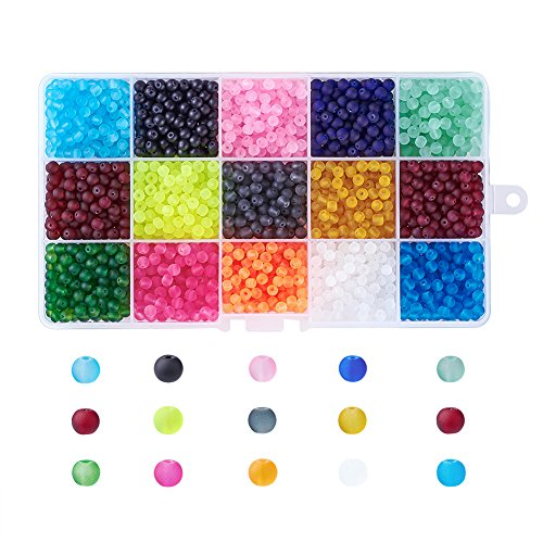 Kissitty 1 Box 15 Colors Transparent Frosted Tiny Glass Beads Round 4mm for DIY Jewelry Making