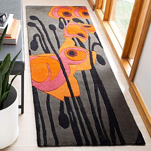 - Safavieh Soho Collection SOH853B Handmade Abstract Grey and Orange Premium Wool Runner (2'6