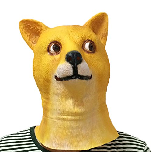 [XIAO MO GU Latex Halloween Costume Decorations Animal Head Mask Doge] (Monkey See Monkey Do Costume)