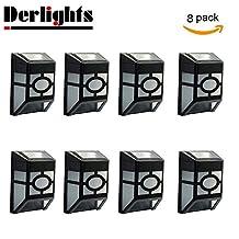 Derlights® Waterproof Solar Powered LED Wall Light (8pcs)