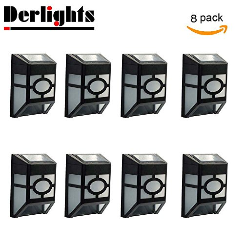 Roof Deck ([Pack of 8] Derlights® Waterproof Solar Powered LED Wall Light for Outdoor Landscape Garden Yard Lawn Fence Deck Roof Lighting Decoration)
