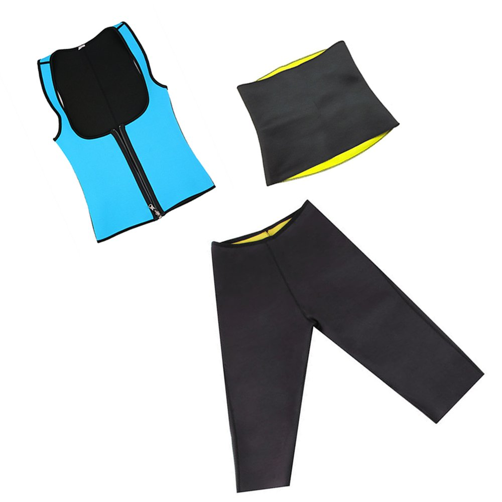 Tone Wear Hot Slimming Neoprene Gym Clothing Set for Woman | 3 Pack Includes Capri Pants, Hip Waist Wrap and Blue Zip Top (X-Large)