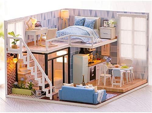 DIY ドールハウス 木工芸構築キット、木製DIYミニチュアルームセットモデル棟セットミニハウス工芸、女性と女の子のための最高の誕生日プレゼント (Color : Multi-colored, Size : 21.5x20.5x15.5cm)