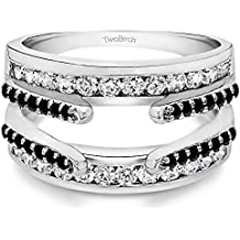 Sterling Silver Combination Cathedral and Classic Ring Guard with Black And White Cubic Zirconia (0.49 ct. tw.)