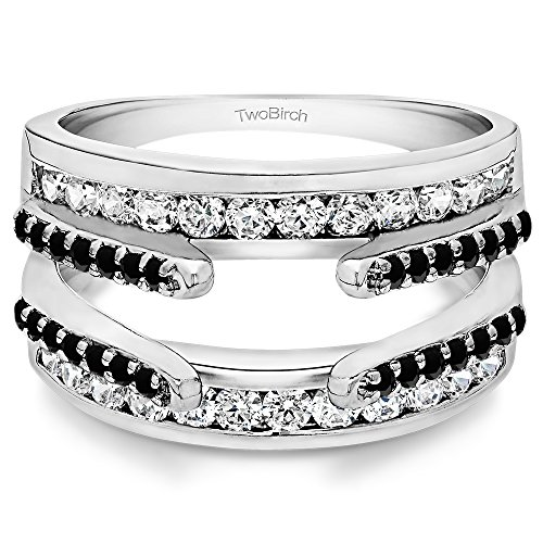 TwoBirch 0.49 ct. Black And White Cubic Zirconia Combination Cathedral and Classic Ring Guard in Sterling Silver (1/2 ct. ()