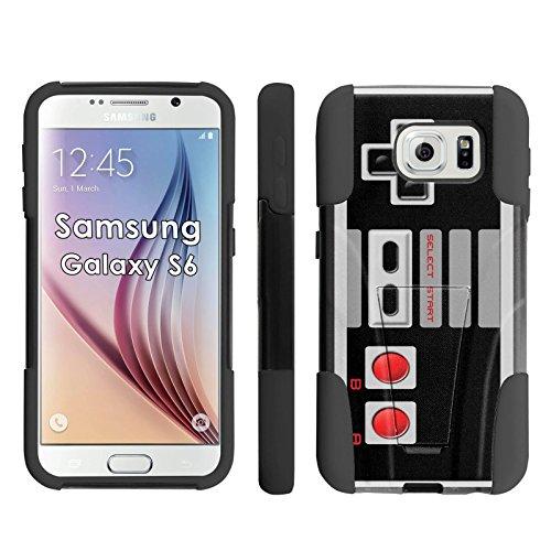 Samsung Galaxy S6 Phone Cover, NES Video Game Controller - Black Armor Kick Flip Grip Phone Case for Samsung Galaxy S6