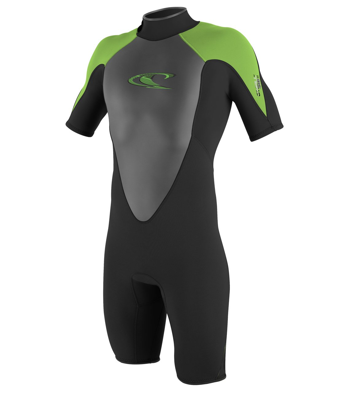 O'Neill Youth Hammer 2mm Short Sleeve Back Zip Spring Wetsuit, Navy/Dayglo/Graphite, 4