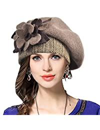 Women Wool French Beret Cloche Angola Beanie Skull Cap Winter Hats