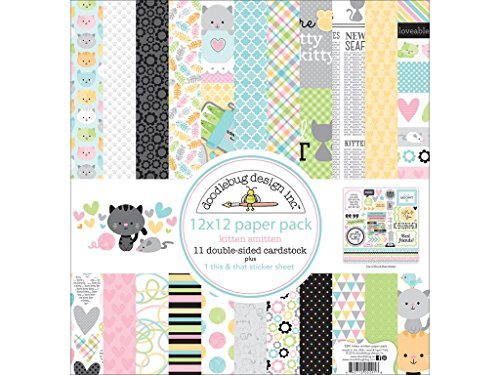 Doodlebug Artistic Wire DOO5291 12 x 12'' Kitten Smitten Paper Pack by DOODLEBUG