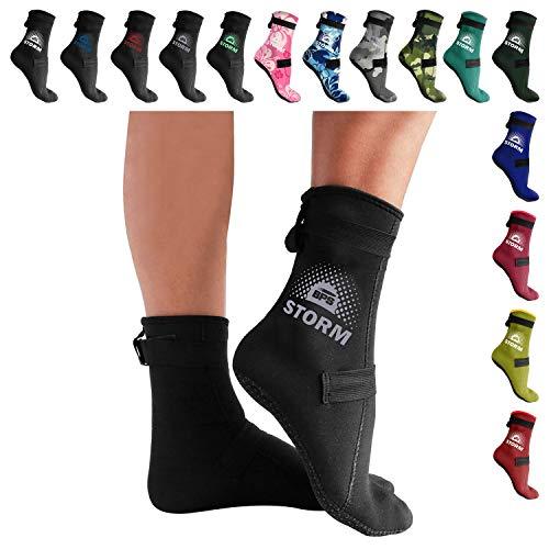 BPS 'Storm Elite Sock' Neoprene Water Socks - with Anti-Slip Sole - Unisex Socks for Snorkeling, Beach Volleyball, Surfing, Scuba Diving, Fin Socks - High Cut (Black/Lilac Grey, ()