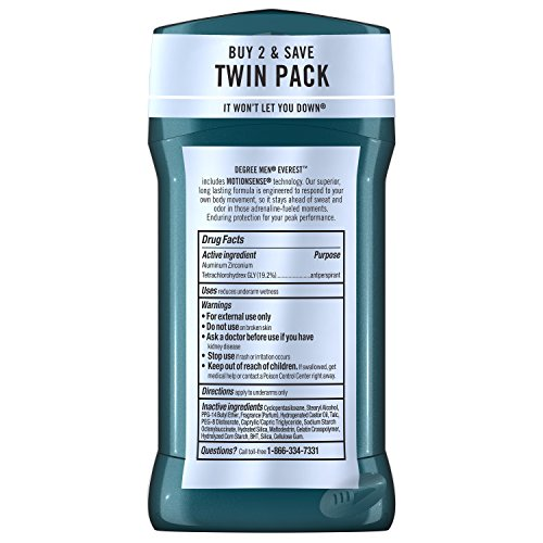 Degree Men Antiperspirant and Deodorant, Everest 2.7 oz, Twin Pack 2