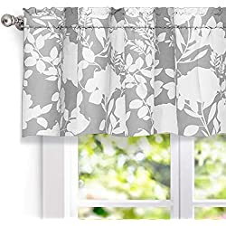 "DriftAway Floral Delight Botanic Pattern Window Curtain Valance,52""X18""+2"" Header(Gray)"