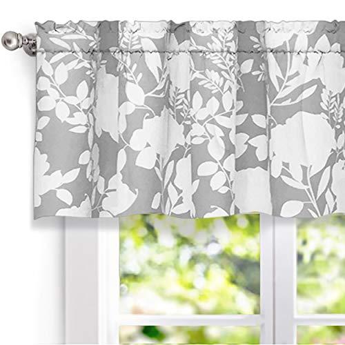 "DriftAway Floral Delight Botanic Pattern Window Curtain Valance,52""X18""+2"" Header(Gray)"