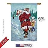 Breeze Decor H114121 Snow Golfing Santa Winter Christmas Decorative Vertical House Flag, 28″ x 40″ inch, Multi-Color For Sale