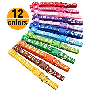 "YOY 12 pcs/Set Soft Nylon Puppy Whelping ID Collars - Adjustable Reusable Washable Baby Dog ID Bands Pet Identification for Breeders, Neck 8"" - 13"" 6"