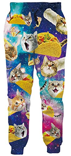 Teen Boys 3D Galaxy Cat Jogger Sweatpants Cool Graphic Space Pizza Taco Cat Trousers Long Jogging Pants Breathable Lightweight Trendy Casual Track Pants Activewear, Large
