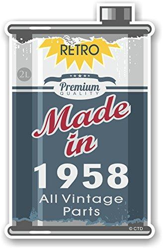 Retro fabricado en 1958 todas las piezas Vintage año de diseño de una antigua lata de