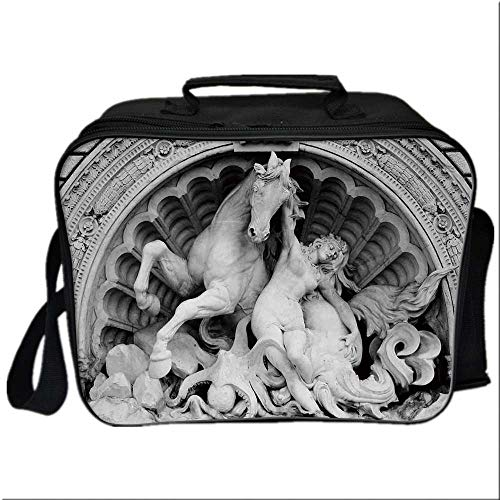(Sculptures Decor Lunch Box Portable Bag,A Struggling Nymph with Octopus Seashell Horse in a Lunette Sculpture Art in Bologna for Kids Boys Girls,10.6
