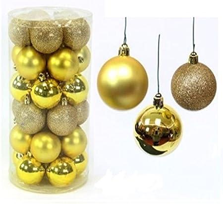 Destello S.L. Pack 30 Bolas Navidad Brillo, Mate Purpurina 6cm ...