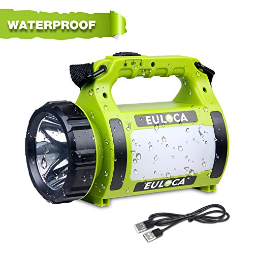 EULOCA Rechargeable Camping Lantern 2600mAh Power Bank Super Bright Flashlight 5 Modes Lamp Dimmable LED Spotlight 10W Outdoor Searchlight Area Light IPX4 Waterproof Torch
