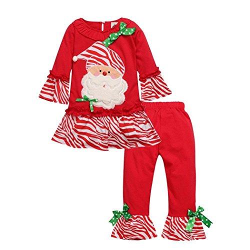 2 Piece Baby Girls Christmas Santa Candy Long Sleeve Tops Pants Clothing Sets (4-5T, ()