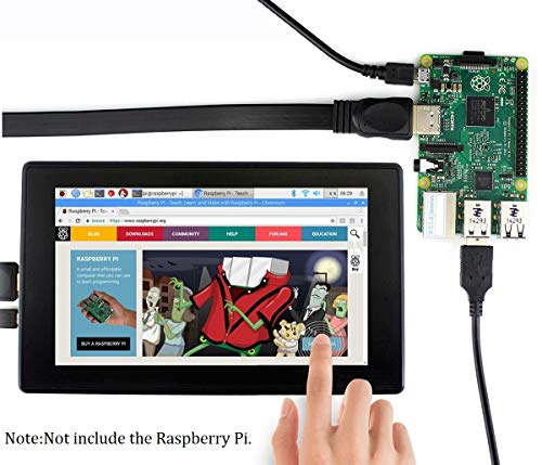 waveshare 7inch HDMI LCD (H) (with case) for Raspberry Pi 1024x600 IPS Display Capacitive Touch Screen Monitor with Toughened Glass Cover Case for Raspberry Pi 4/3/2/1 B B+ A+/Jetson Nano/Windows 10