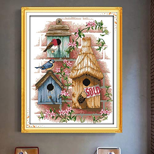 Zamtac Chalet Cross Stitch Kits Canvas House Patterns Printed Pattern Fairy Tale Embroidery Needlework Log Cabin Cross-Stitch Set 14CT - (Cross Stitch Fabric CT Number: 11CT White Canvas)