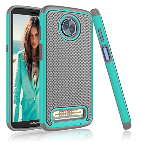 Njjex Moto Z3 Play Case, For Moto Z3 Case,[Nveins] Impact Drop Protection Hybrid Hard Back + Soft Silicone Armor Defender Shockproof Scratchproof Slim Phone Cover For Motorola Z3 Play 2018 [Mint/Grey]