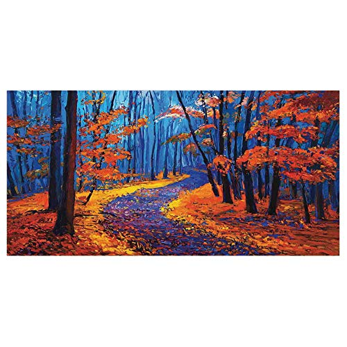 47.2x23.6 Floor/Wall Sticker Removable,Country Decor,Dark and Deep in The Forest in Fall Autumn Season Silence Calm Magical Nature Art Paint,Orange Navy,for Living Room Bathroom Decoration